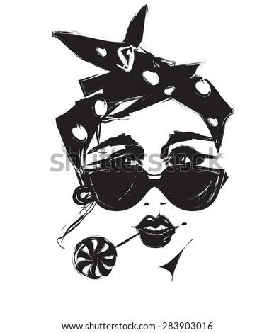 Girl in sunglasses - stock vector