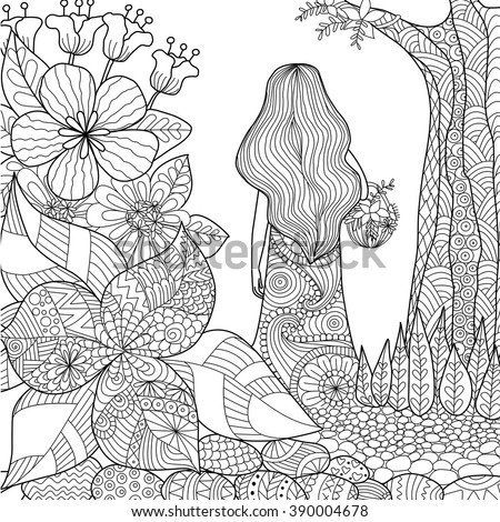 Girl In The Garden Whimsical Line Art For Coloring Book Adult