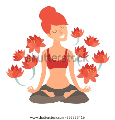 Girl in the lotus position with flower vector. Meditation art. Isolated illustration on the white background. Design concept of yoga, fitness, relax, happiness, meditation