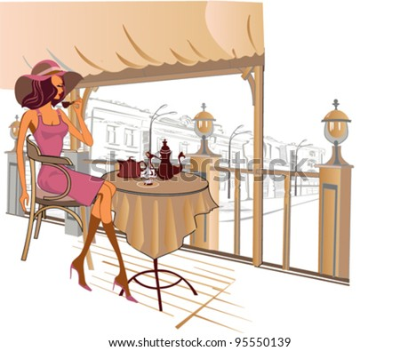 Girl in the street cafe in the old city drinking coffee - stock vector