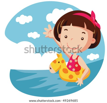Girl in yellow air buoy. vector illustration - stock vector