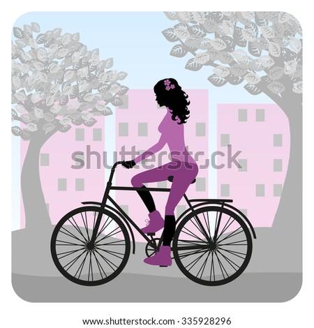 Girl is riding bike  - stock vector