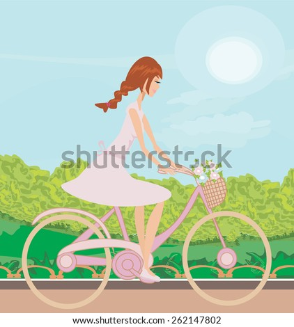 Girl is riding bike on spring field - stock vector