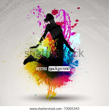 Girl jumping over ink splash background. - stock vector