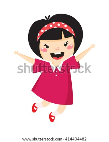 Girl jumping with happy expression, isolated on white. Japan girl jumping vector and cute japan girl jumping. Japan little girl jumping happy motion people, young motion movement jumper beauty girl. - stock vector