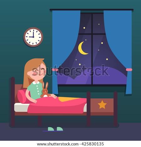 Girl Kid Preparing To Sleep Bedtime In His Bedroom Bed Good Night Time Modern