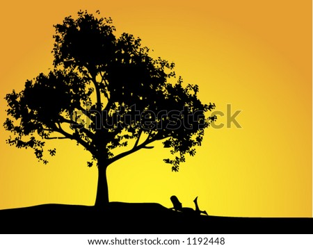 Girl laying under a tree at sunset. Fully editable. - stock vector