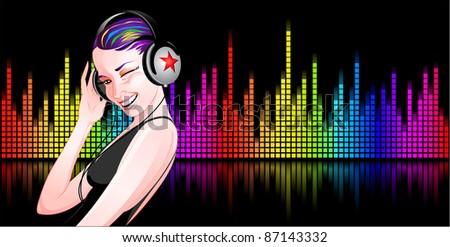 Girl listening to music with her headphones - stock vector