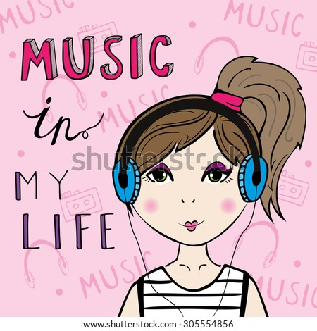 Girl listening to the music.  - stock vector