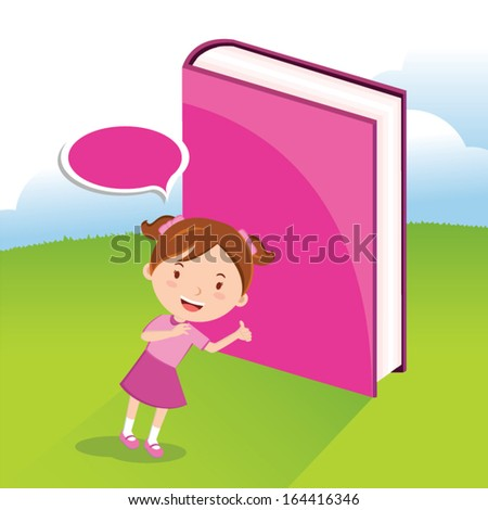 Girl love book - stock vector