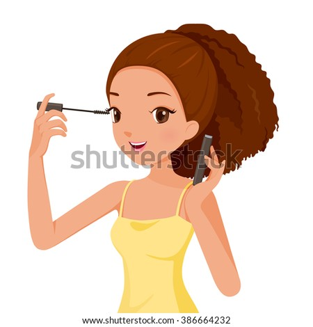 Girl Make Up Her Eyes With Mascara, Facial, Beauty, Cosmetic, Makeup, Health, Lifestyle, Fashion - stock vector