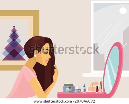 Girl make up. Vector flat illustration - stock vector