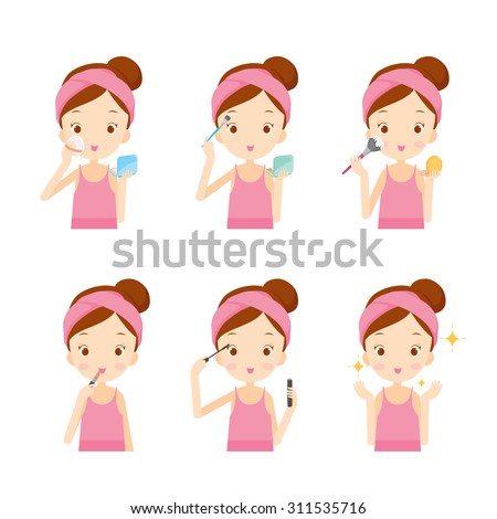 Girl makes up with various actions, cosmetics, facial, beauty, fashion, woman lifestyle, concepts - stock vector