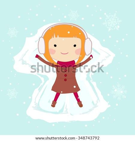 Girl making a snow angel - stock vector