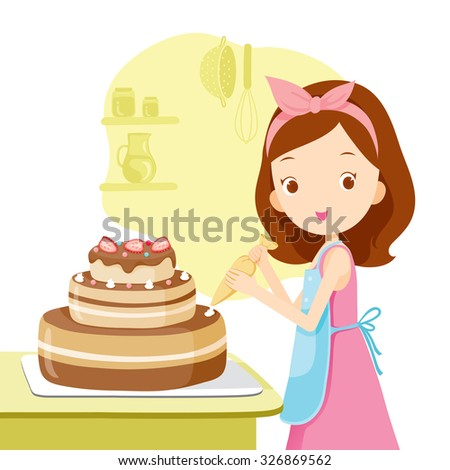Girl Making Cake, Kitchen, Kitchenware, Crockery, Cooking, Food, Bakery, Occupation, Lifestyle - stock vector