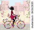 Girl on a bicycle in the city - stock vector