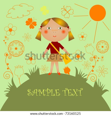 Girl on a flower meadow - stock vector