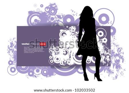 Girl on a grunge background. Vector illustrator. - stock vector