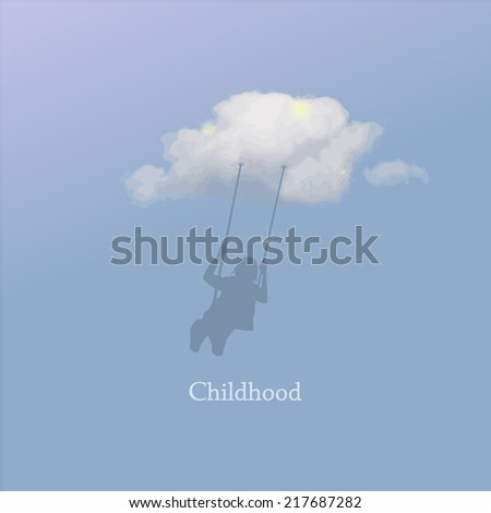 Girl on a swing on a cloud. Vector - stock vector
