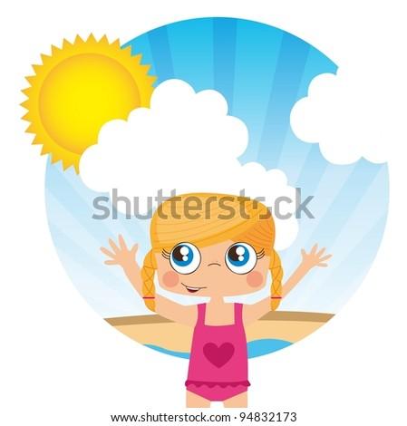 Girl on beach, summer landscape, Vector Illustration - stock vector