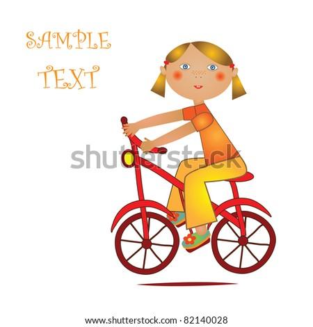 girl on bike - stock vector