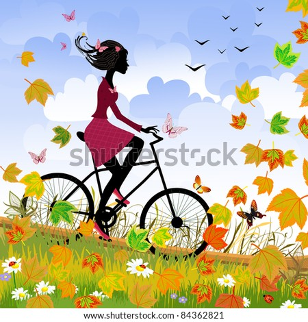 Girl on bike outdoors in autumn - stock vector
