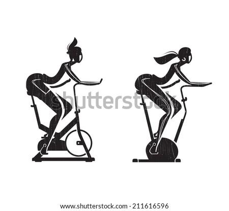 Girl on bike. Vector format - stock vector