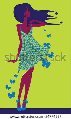 girl on decorative background with butterfly - stock vector