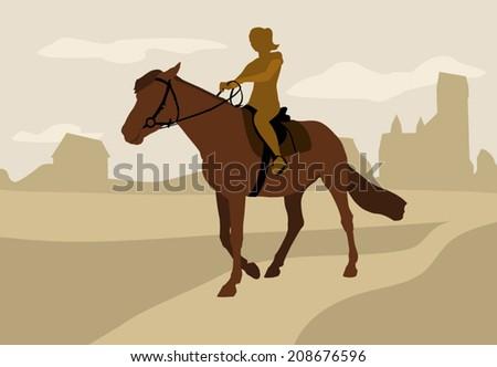 girl on horseback, silhouette - vector - stock vector