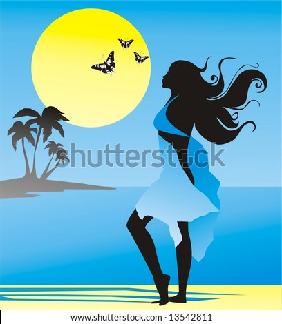 girl on sea (vector) - stock vector