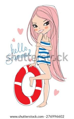 girl on the beach with a lifeline  - stock vector