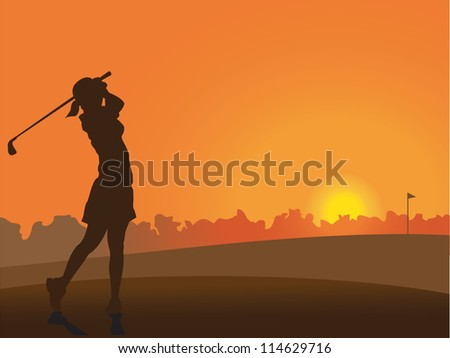 Girl on the golf course at sunset - stock vector