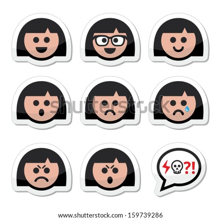 Girl or woman faces, avatar vector icons set - stock vector