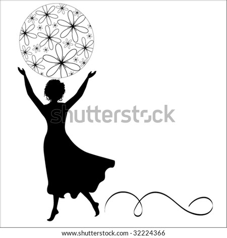 girl outsertched arms with ball of flowers - stock vector