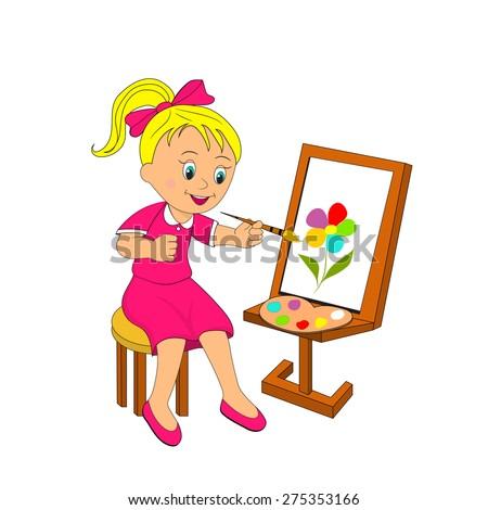 Girl paints flower on an easel, illustration, vector - stock vector