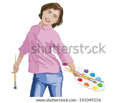 Girl paints paints with brushes and palette - stock vector