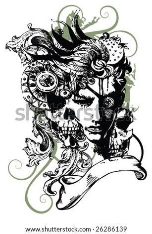 Girl-pirate for T-shirt - stock vector