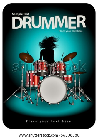 Girl play the drums - stock vector