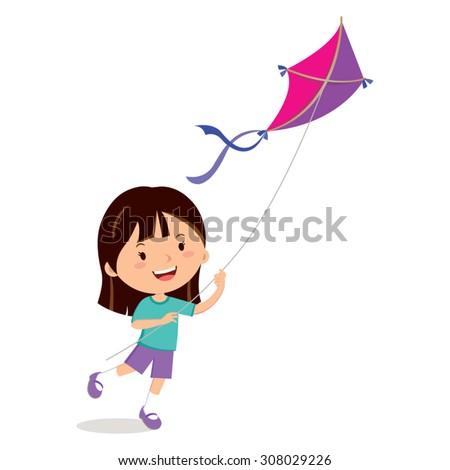 Girl playing kite. Vector illustration of a cheerful girl flying kite. - stock vector