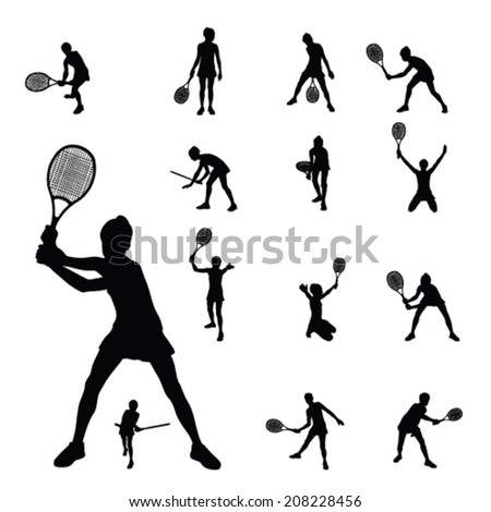 girl playing tennis vector illustration