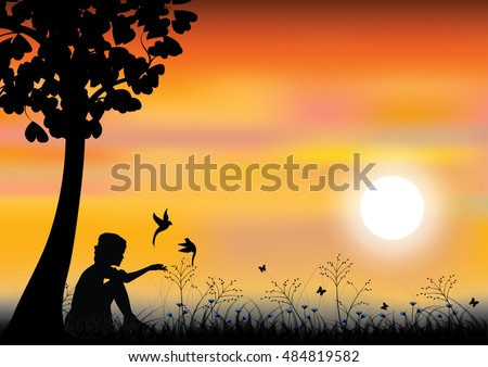 Girl playing with birds under tree, Vector illustrations