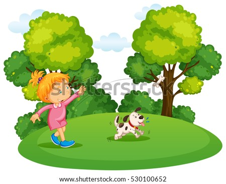 Girl playing with pet dog in park illustration