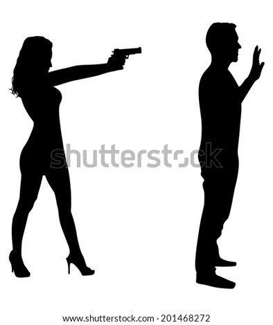 girl pointing gun on man, tell him to freeze - stock vector