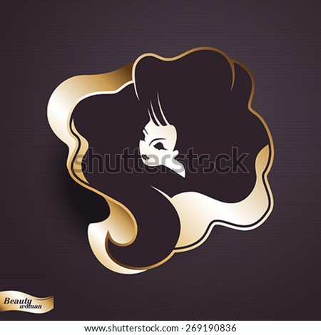 Girl portrait . Gold vector icon