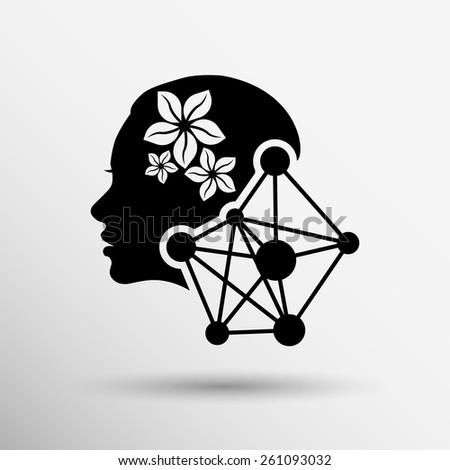 Girl portrait Vector silhouette icon, monochrome icon - stock vector