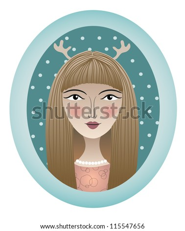Girl portrait with attire in oval frame. Vector illustration.