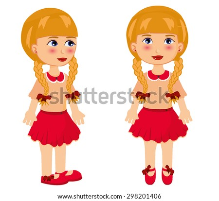Girl posing front and side - stock vector