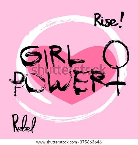 Girl power feminism symbol written in ink on pink background. T-shirt illustration concept. - stock vector