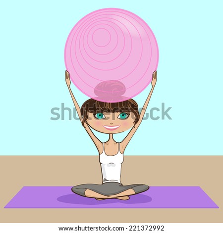Girl Practicing Pilates Illustration - hand drawn vector EPS10  - stock vector
