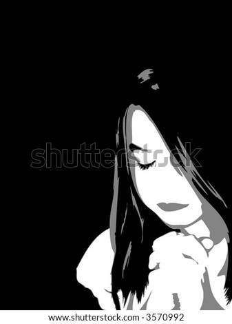 Girl Praying - stock vector